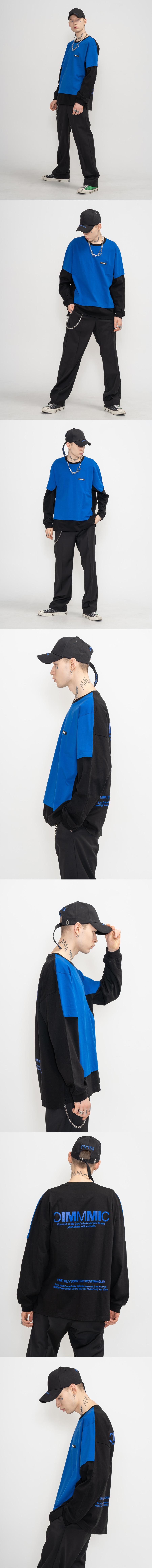 DOUBLE L/SL T-SHIRTS(BLUE) -[T-306]